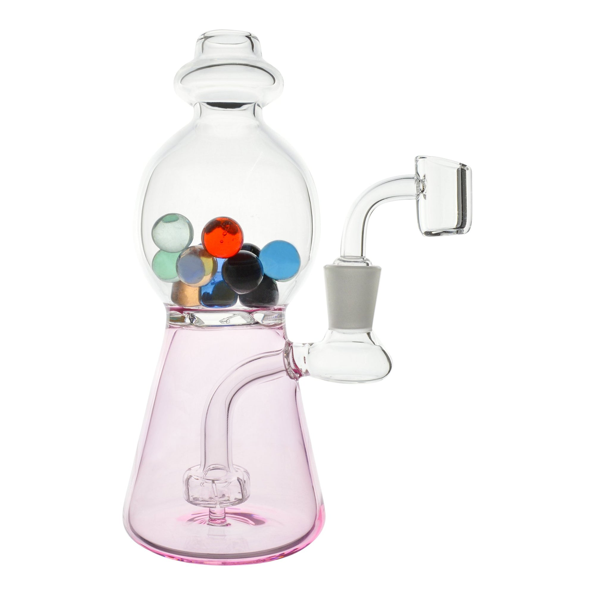 Cute 7.5 inch dab rig pink beaker shaped chamber clear sphere neck with marbles assorted colors banger on right slightly back