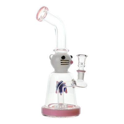 10 inch glass bong with pink accents cat with hair clip design with blue turtle on left side bent neck bowl on right