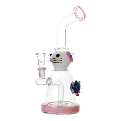 10 inch glass bong with pink accents cat with hair clip design with blue turtle on right side bent neck bowl on left