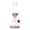 10 inch glass bong pink accents cat hair clip design facing front with blue turtle on right side bent neck bowl in front