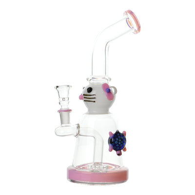 10 inch glass bong pink accents cat face with hair clip design blue turtle fully visible on right bent neck bowl on left