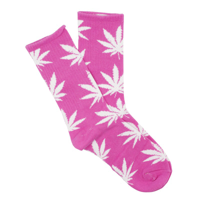 Pink Cute two piece pink adult socks fashion apparel with a fashionable look and white weed leaf design