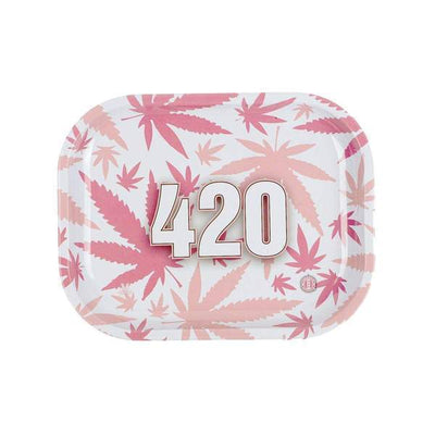 Pink mini rolling tray smoking accessory with cute pink weed leaf design and 420 numbers in the middle