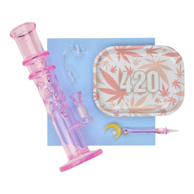 Set of cute pink princess-themed pieces ice catcher bong, glass dabber, male quartz bannger and metal mini tray