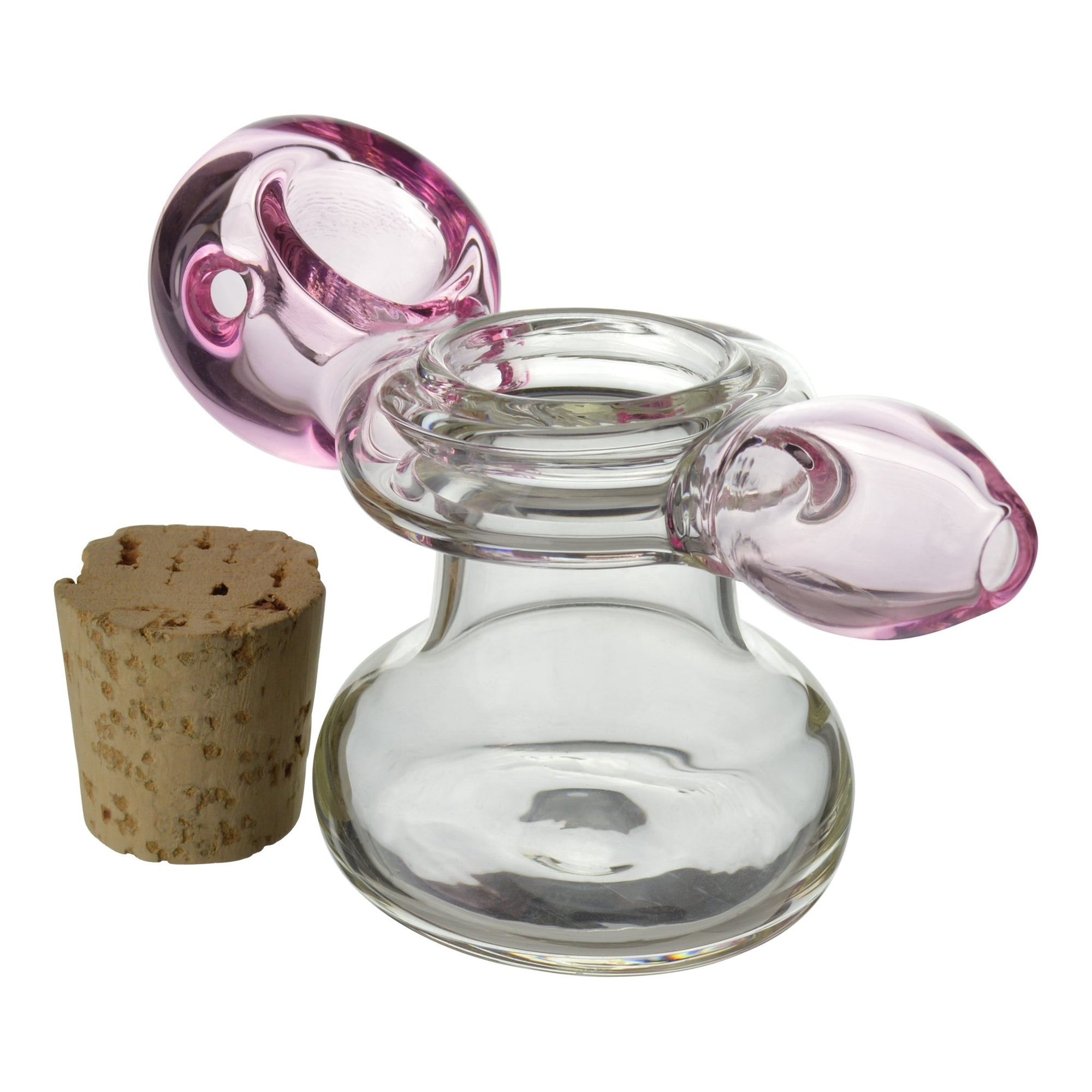 Cute 3.5 inch glass pipe with stash and pink accents removed cork on left 2 in 1 stash and pipe functional travel friendly