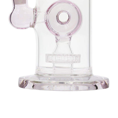 close up 10-inch glass bong smoking device 360-degree disk percolator elegant twisting design subtle pink color