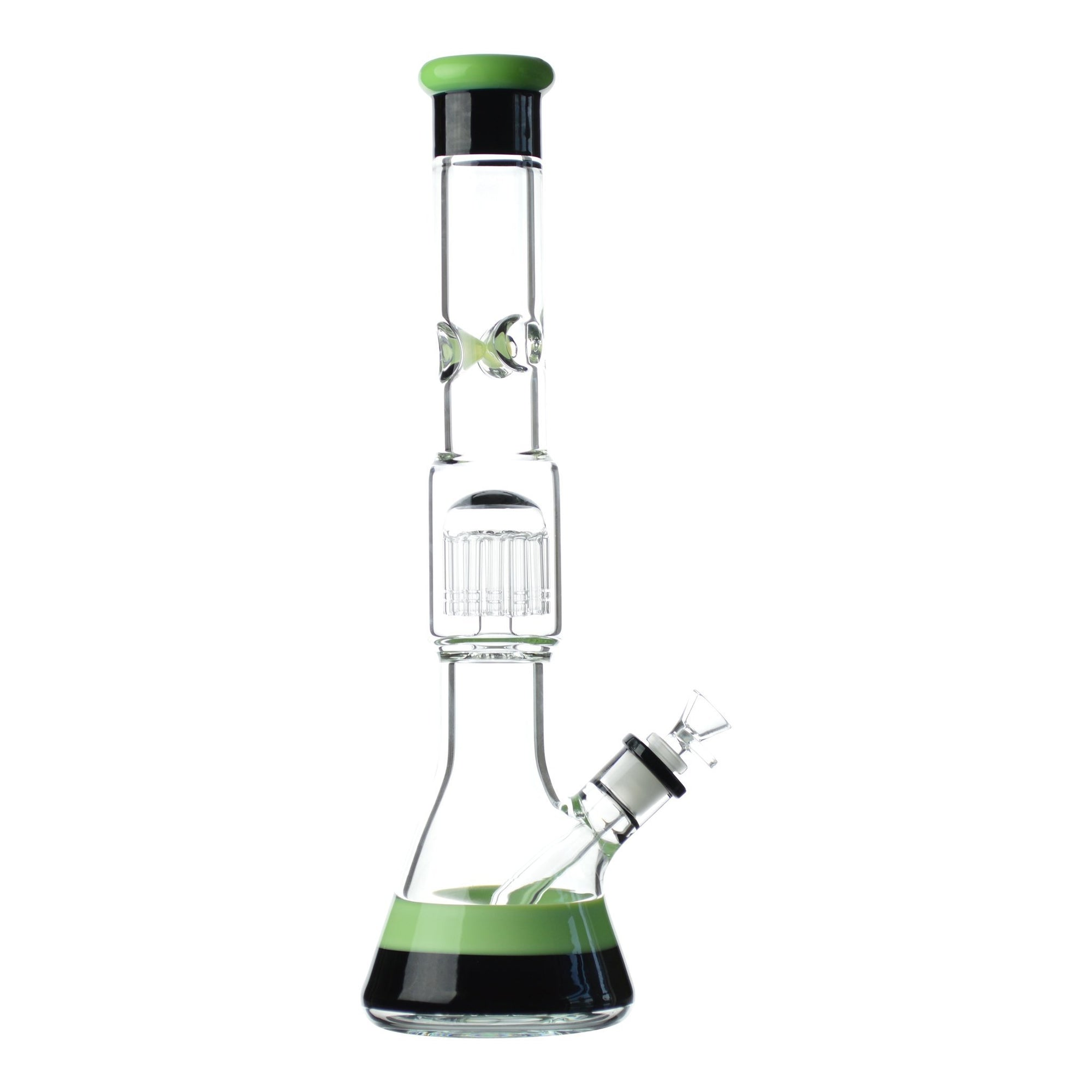 Full shot 18 inch beaker bong with green and black accents on mouthpiece, neck perc base and bowl with black accents on right