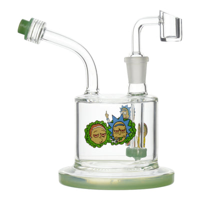 Compact 6-inch glass dab rig smoking device with fun RnM Rick and Morty chill out with dirty finger sign design