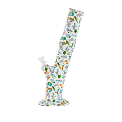 13-inch silicone bong smoking device sleek straight tube slanted look with fun RnM Rick and Morty design wide base