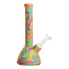 Full shot of 8.5 inch beaker bong covered in silicone with fun rainbow swirls color and bowl facing right