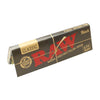 Full shot of 1 1/4 RAW Black natural unrefined rolling papers tilted with red RAW word in black background