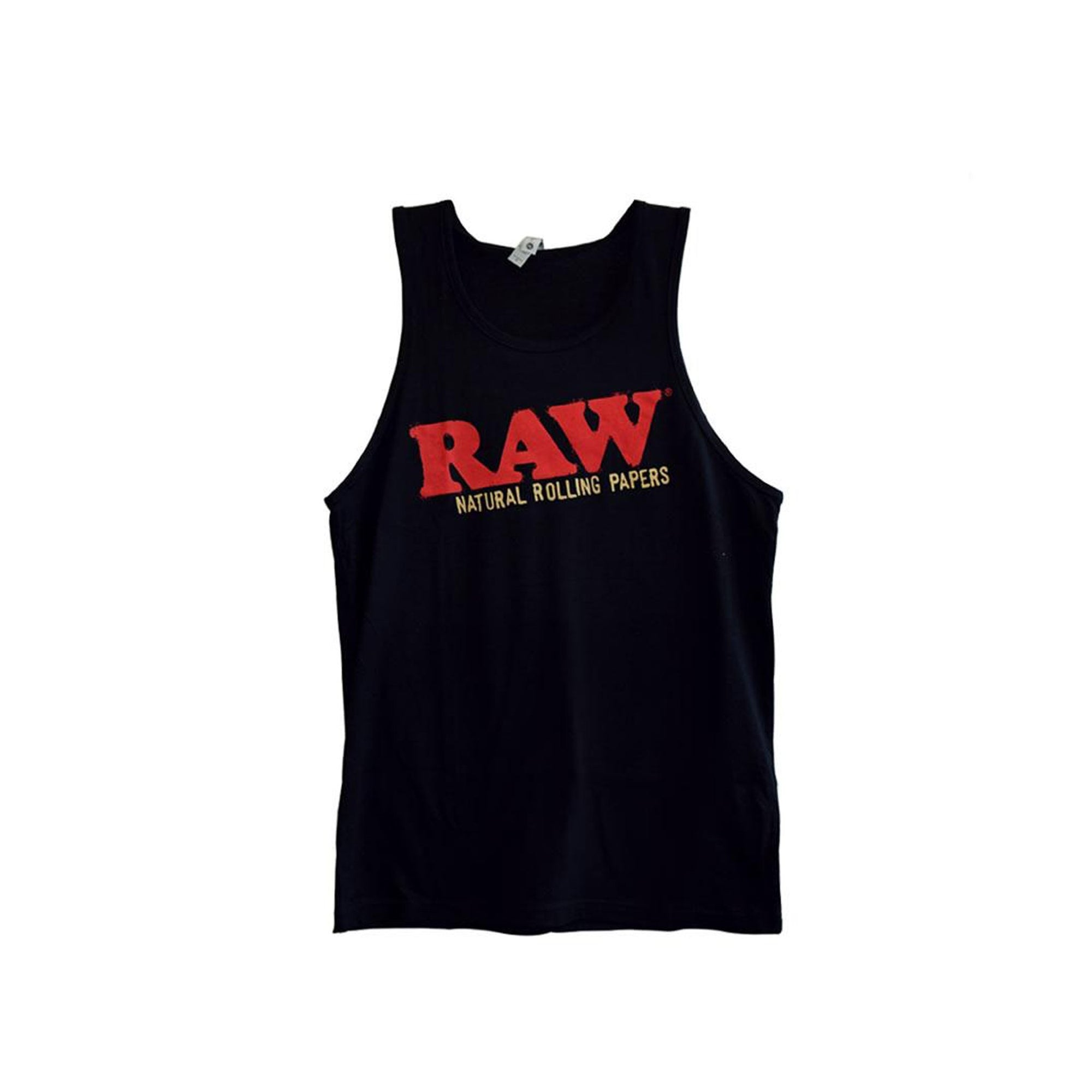 Full shot of front black sleeveless tank top with RAW in red and natural rolling papers wording in brown