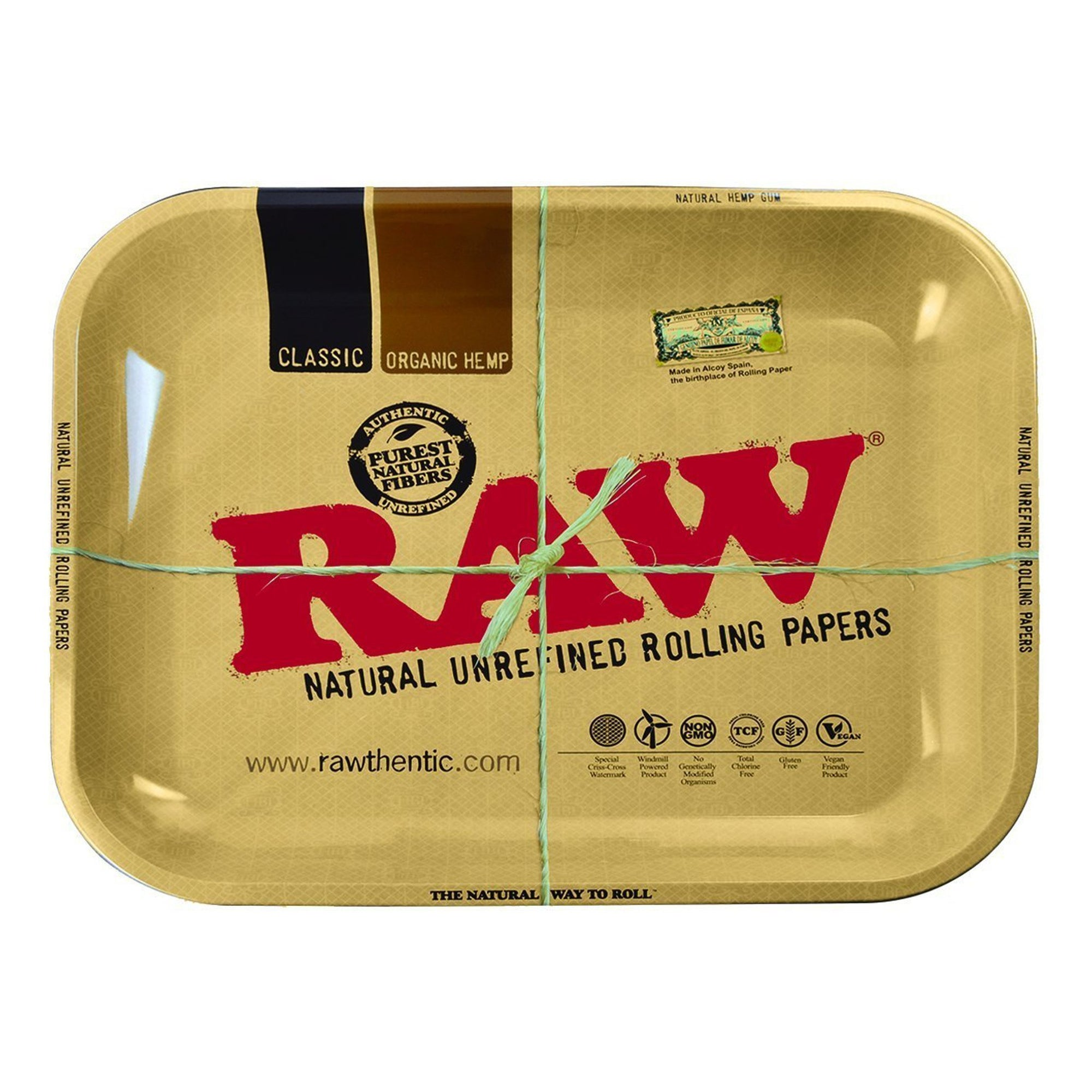 Full shot of huge XXL 20 inch light brown RAW metal rolling tray with huge RAW print in red colors