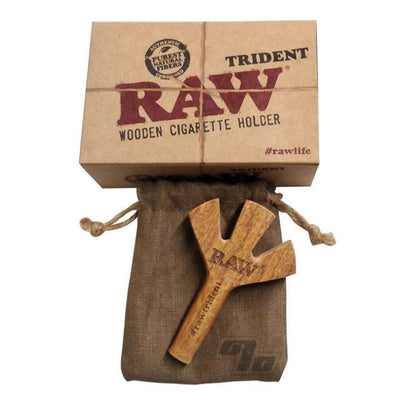 Fun RAW wooden cigarette holder can hold 3 cigars pure natural fibers trident style rustic look
