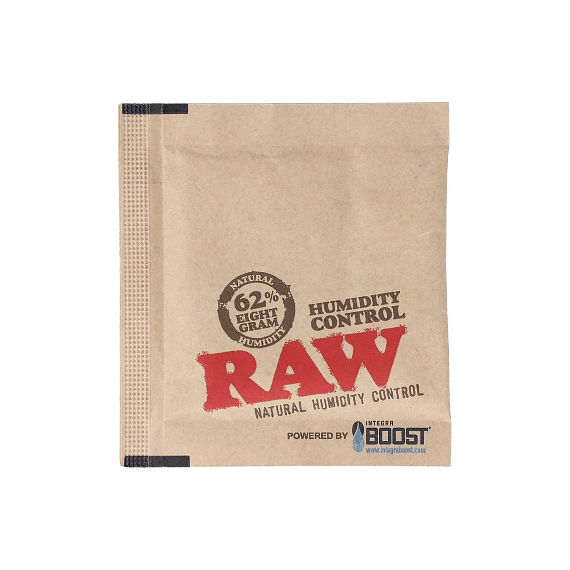 Beige 8g square pack with black accents of RAW X Integra 62% humidity control pack smoking accessory sachet of sugar look