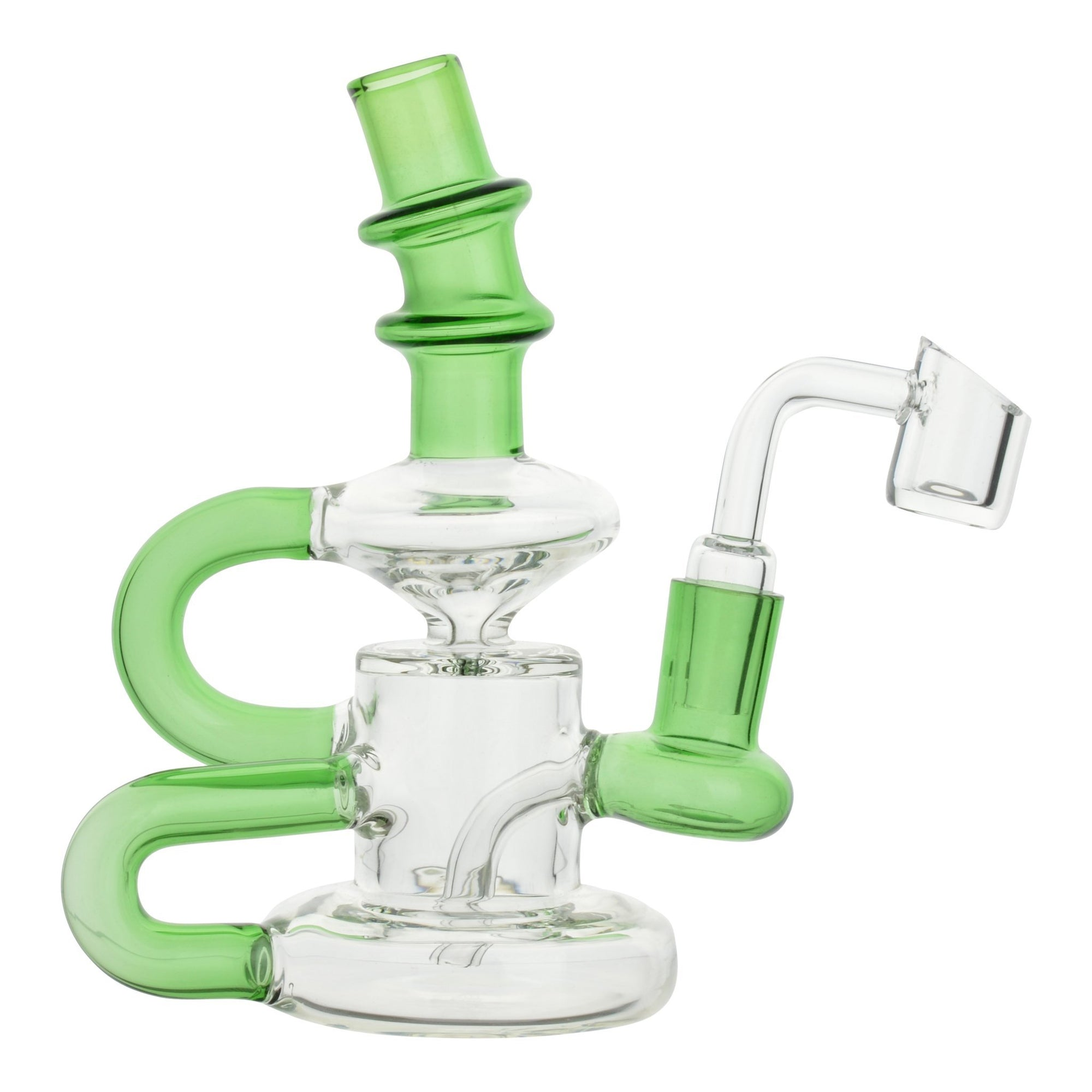 Full front shot of 6 inch glass dab rig green and clear colors mouthpiece facing left banger on the right spiral B shape