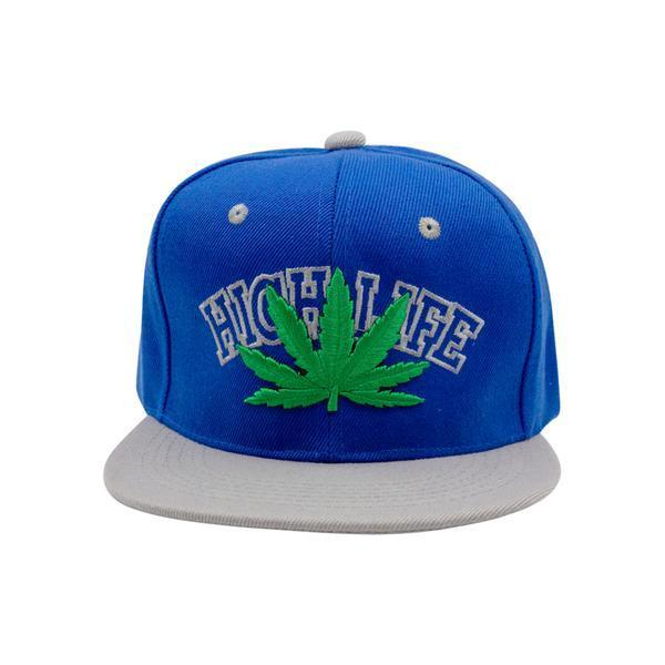 Full side shot of blue snapback cap with HighLife green weed leaf design in front and gray visor facing right