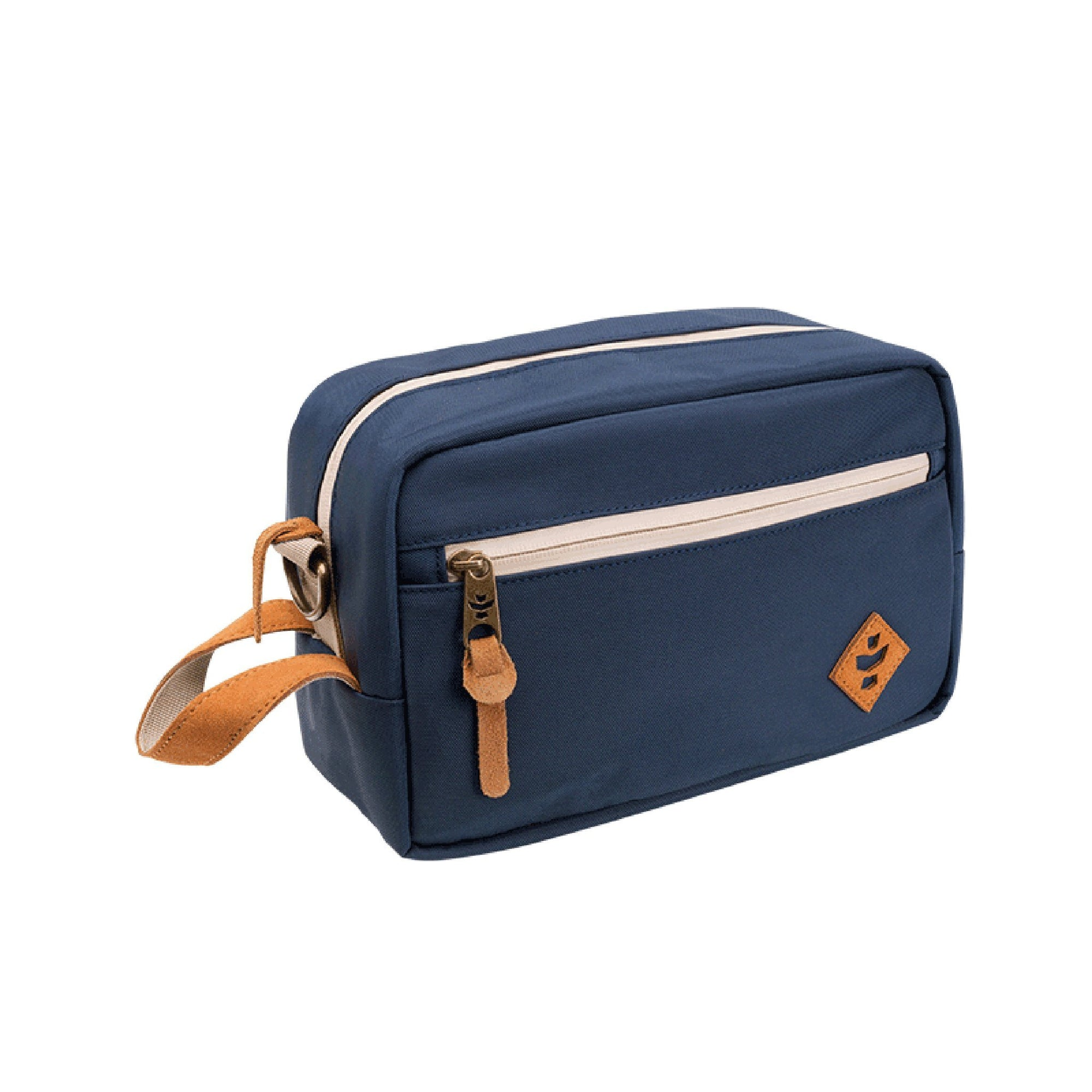 Front part of a 10 inch Revelry Stowaway bag navy blue color with brown accents smoking accessory