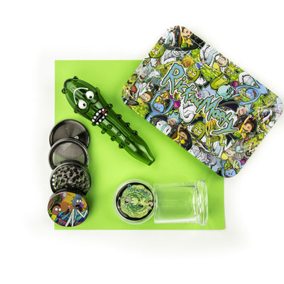 Top shot of Rick N Morty rolling tray, grinder and stash jar with 5.5 inch glass pipe in green wacky Pickle design