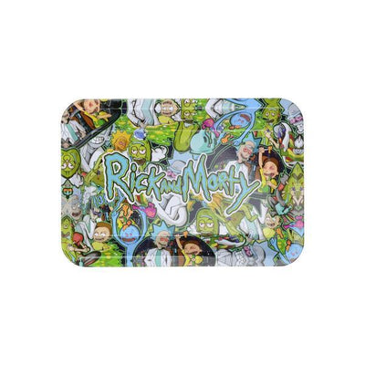 Top full shot of metal rolling tray with wacky green Rick and Morty word RnM characters smoking pot design
