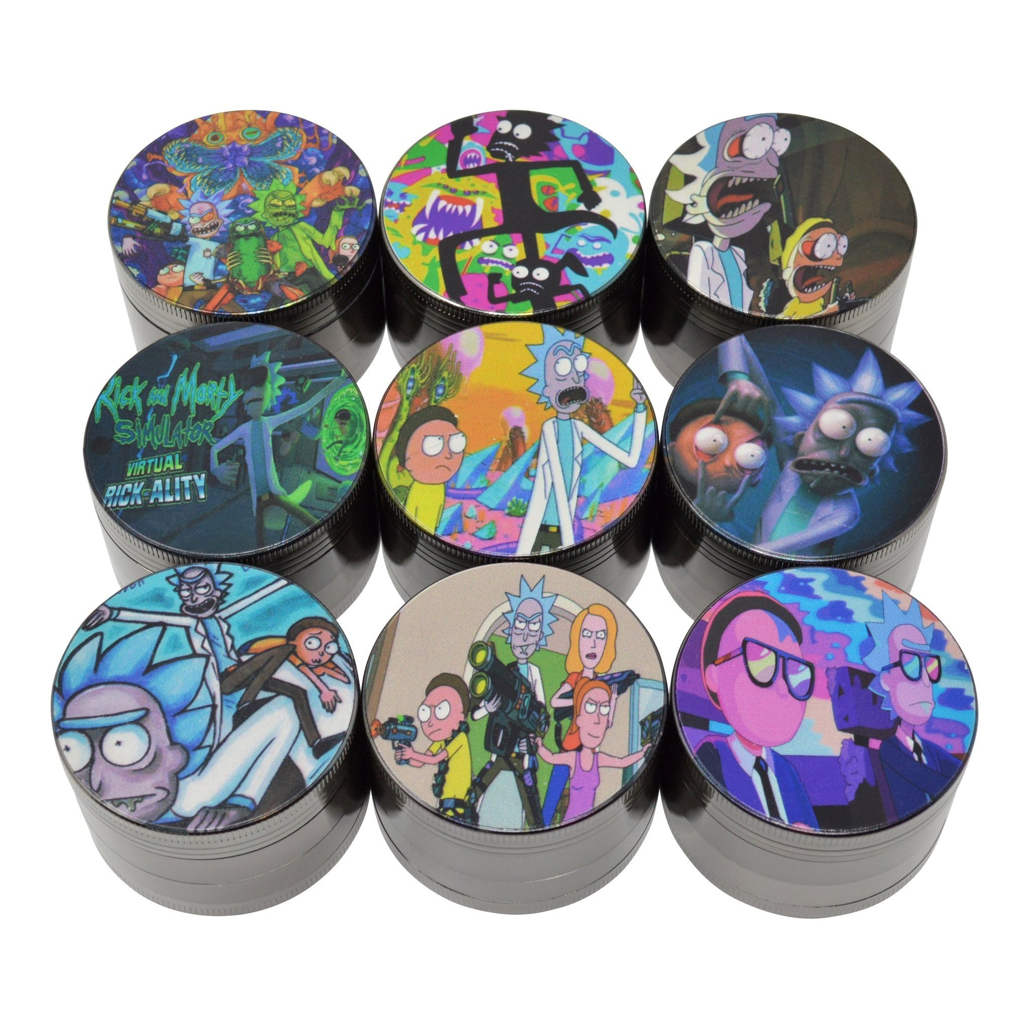 Top shot of 9 pieces funny RnM themed assorted Rick and Morty designed lids black grinders