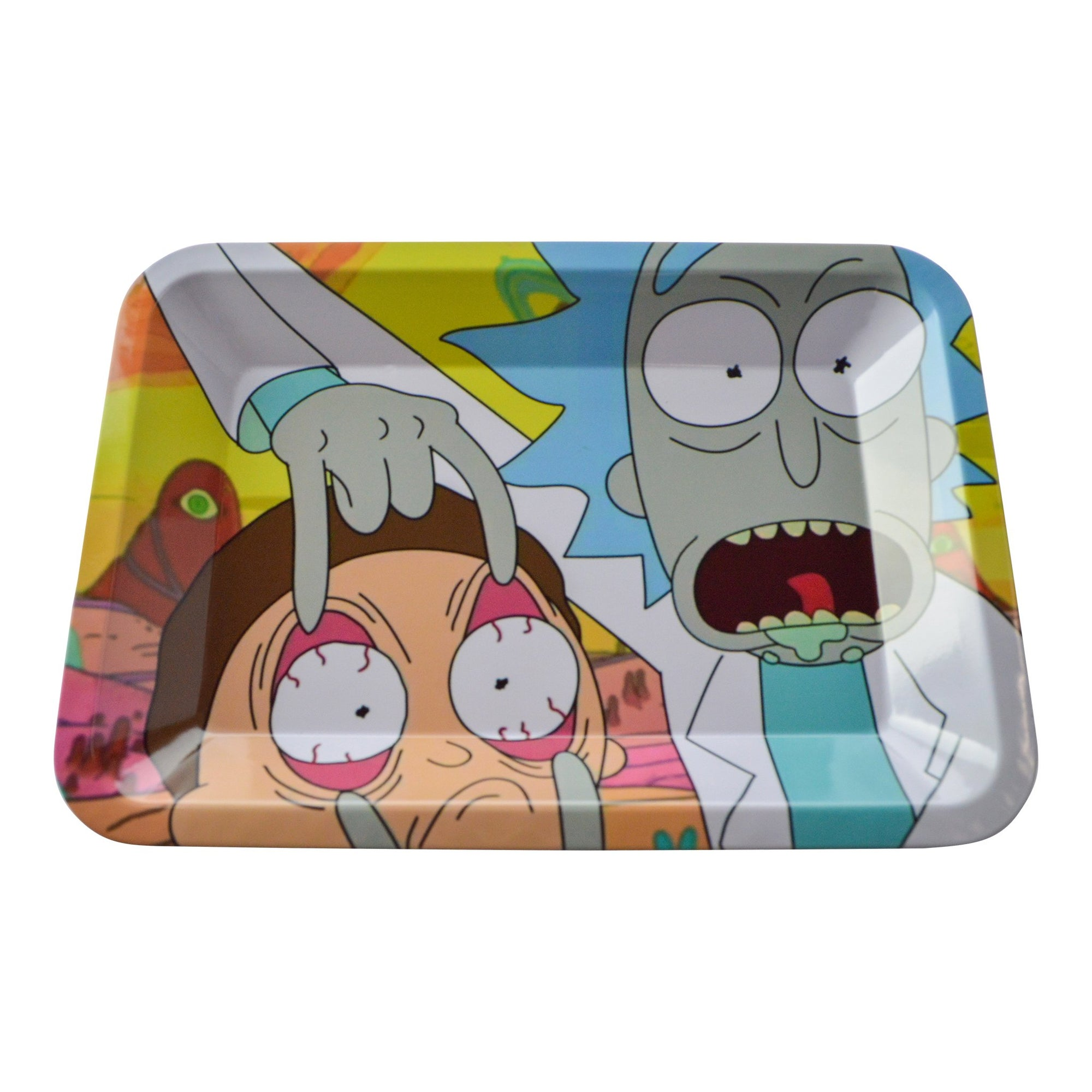 "7 inch square metal rolling tray with Rick stretching Morty's eyes ""Look Morty"" big eyes Rick open mouth tongue visible"