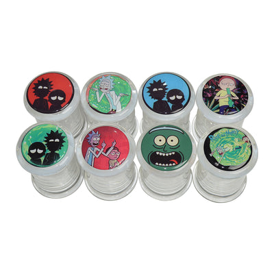 Functional clear glass stash jar storage container fun exciting secure lids with Rick and Morty sticker