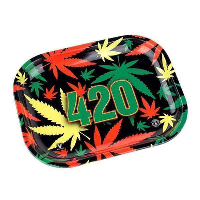 Colored mini rolling tray smoking accessory with a funky rasta weed leaf design and 420 numbers in the middle