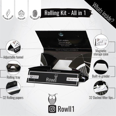 Infogram Rowll rolling kit accessory 32 papers per pack with filters Rowll owl pyramids design magnet close