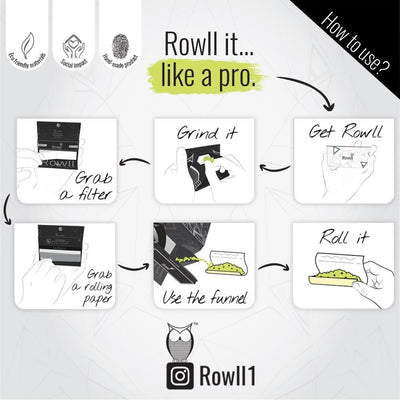 How to use Rowll rolling kit accessory 32 papers per pack with filters Rowll owl pyramids design magnet close