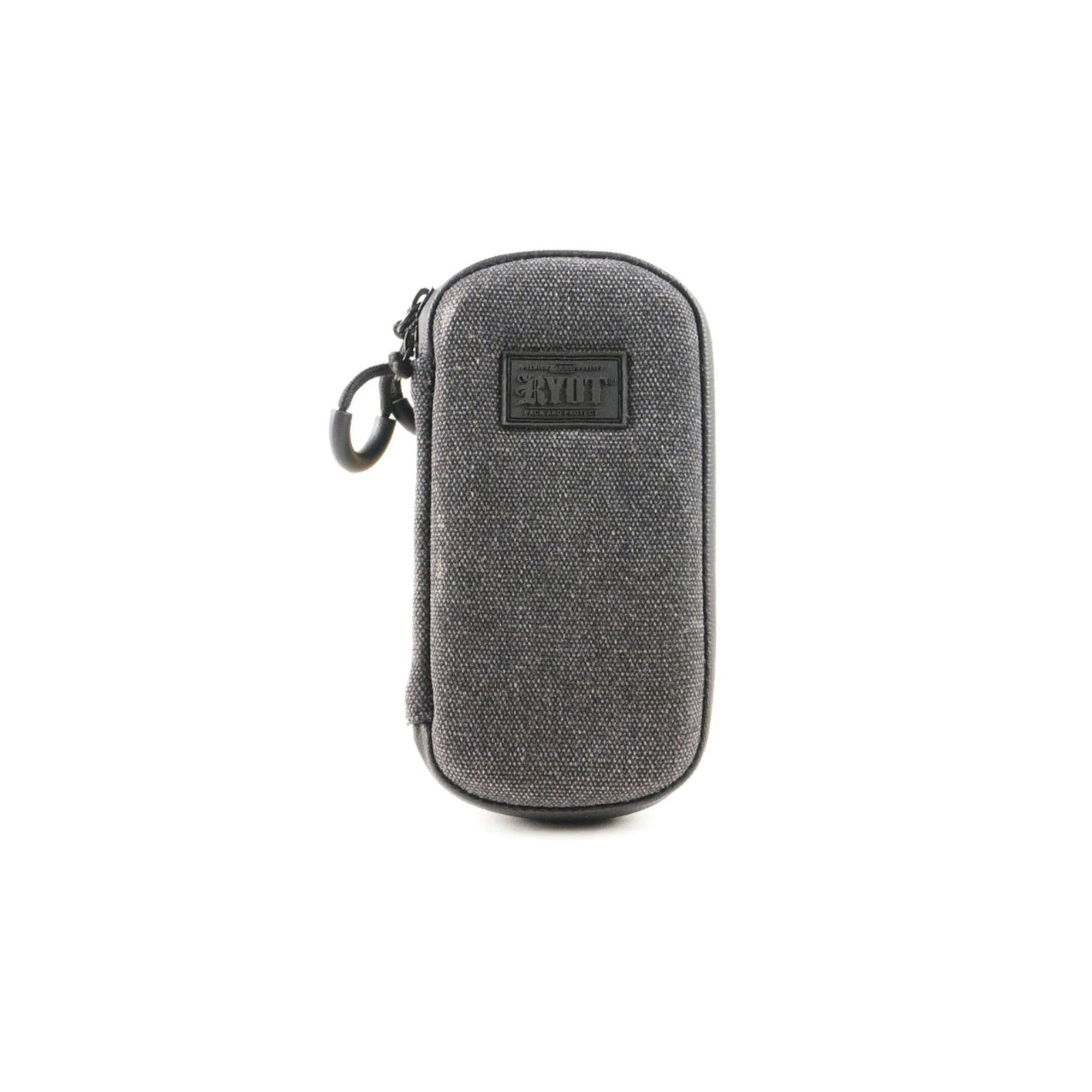 Front shot of 6 inch gray colored RYOT carbon series slym case smoking accessory logo in front pull tab on left