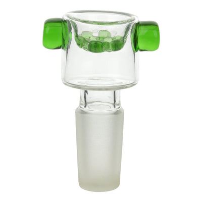 14mm glass male bowl for bong smoking accessory with built-in screen and green finger grips on the sides