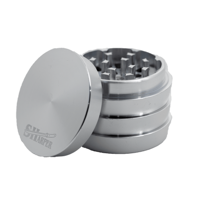 Silver 50-mm metal 4-piece grinder smoking accessory in metallic color sleek and edgy design