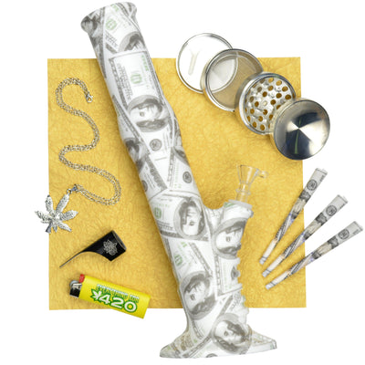 Set bundle of money-themed smoking pieces $100 king cones, bong, crusher, lighter, kasher, necklace set