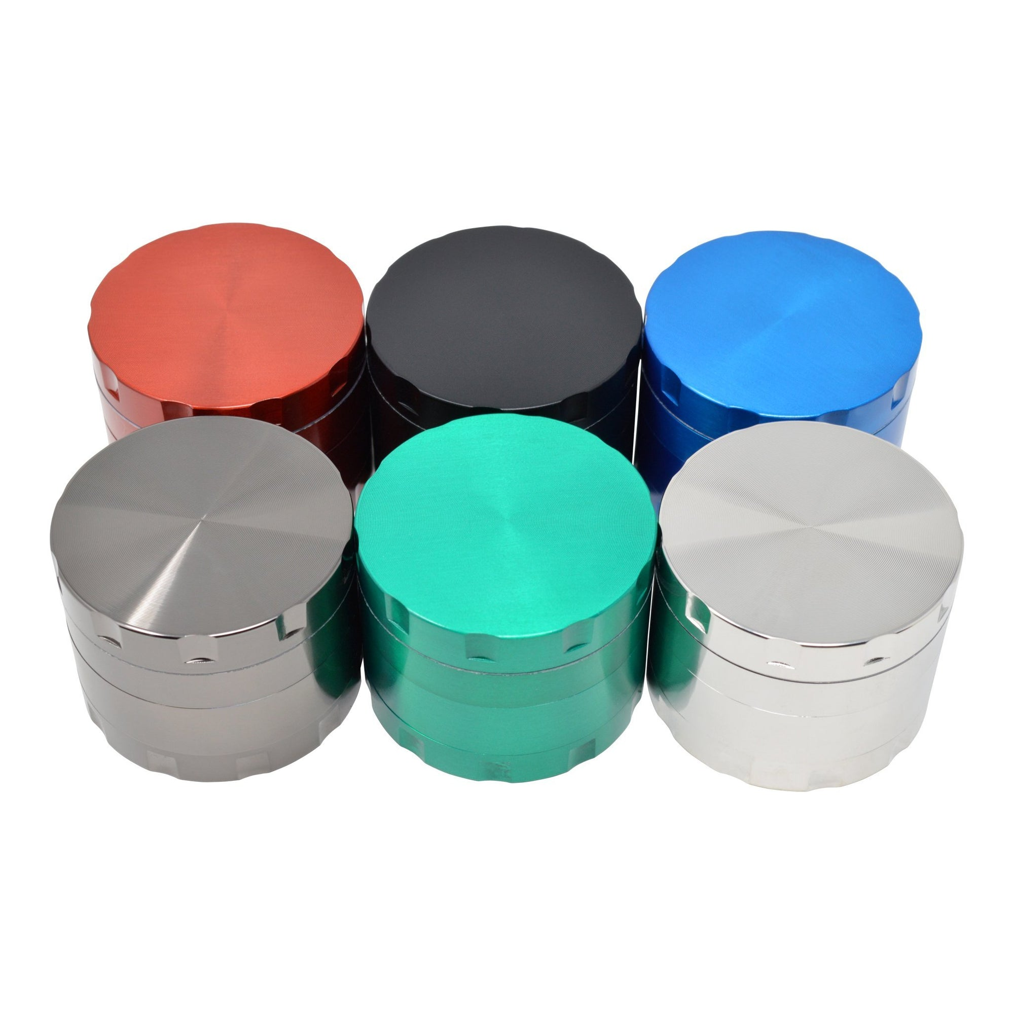 High angle shot of 6 closed 48mm grinder smoking accessory lid with smooth surface ridges on the side