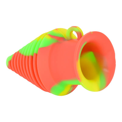 Colorful silicone bong mouthpiece smoking accessory in a cone, Christmas tree shape vibrant combination of colors