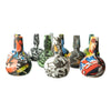 Front shot of assorted 10 pieces multicolored comic print silicone bowl smoking device part with joints facing upwards