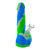 Upright shot 8 inch silicone bong phallus penis with veins design blue white green swirls testicles-shaped base bowl on right
