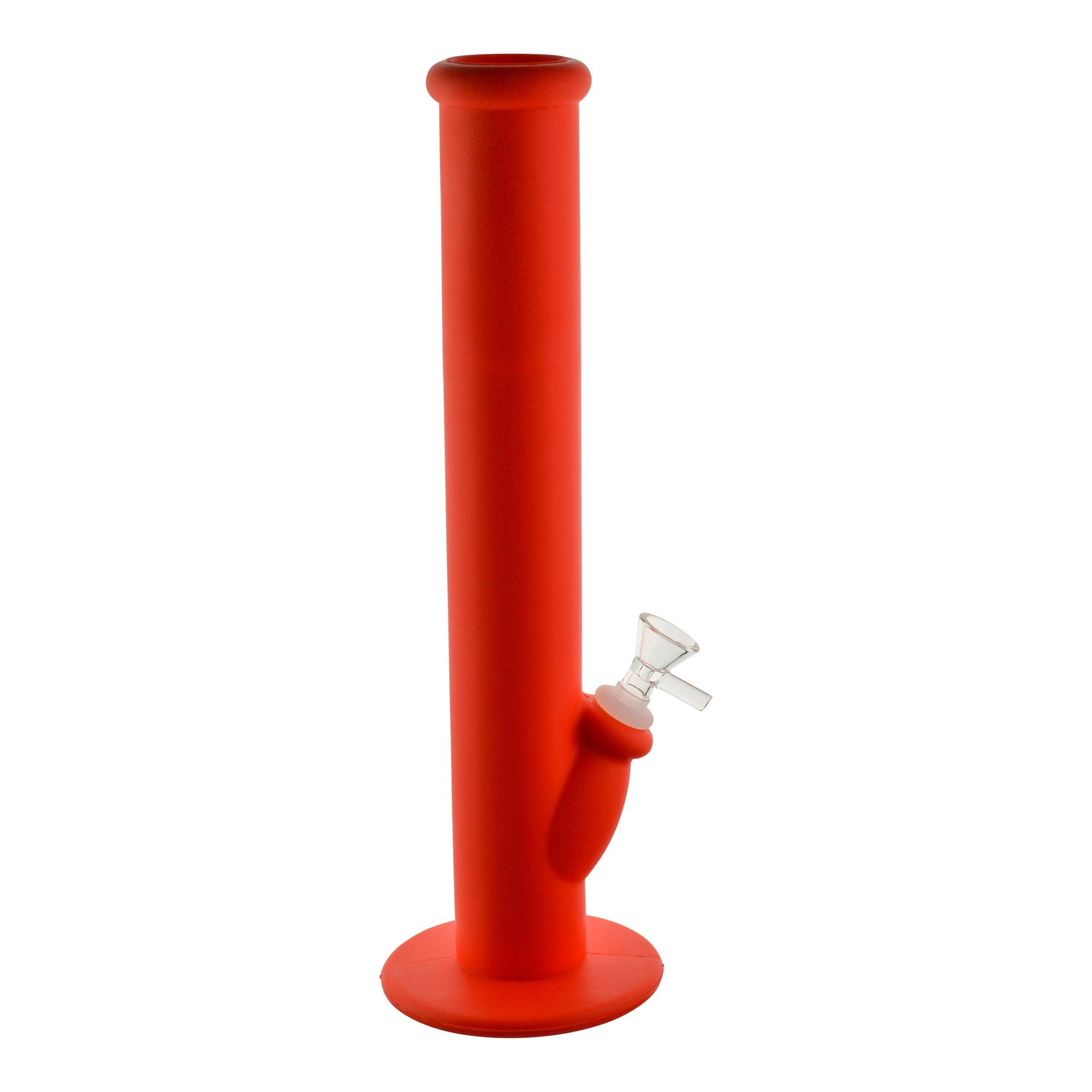 Unique 14.5 inch straight shooter silicone bong smoking device in full bright red color clear glass bowl on right