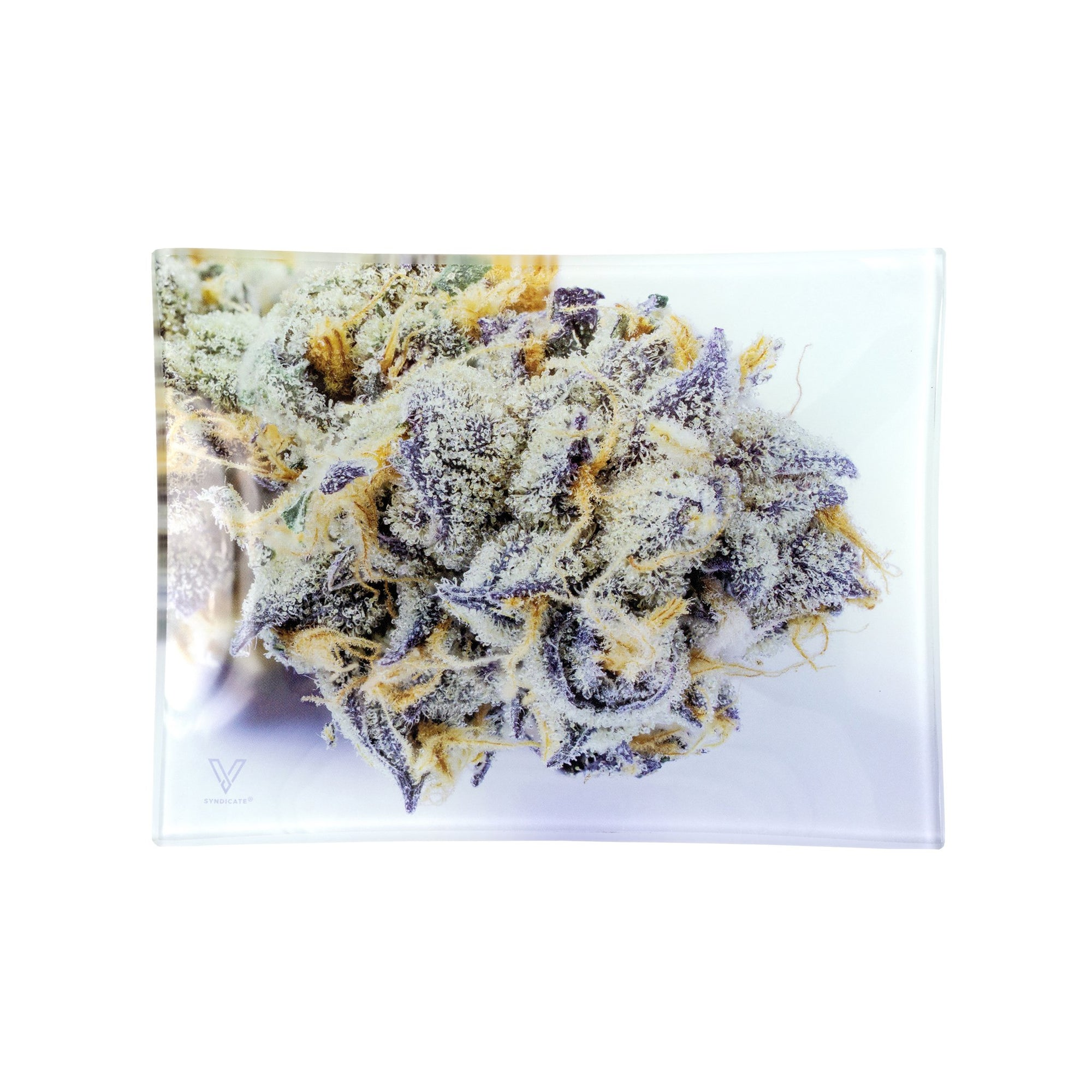 6.5 inch V Syndicate Girl Scout Cookies Glass Rolling Tray smoking accessory closeup microscopic shot of Bubba Kush marijuana