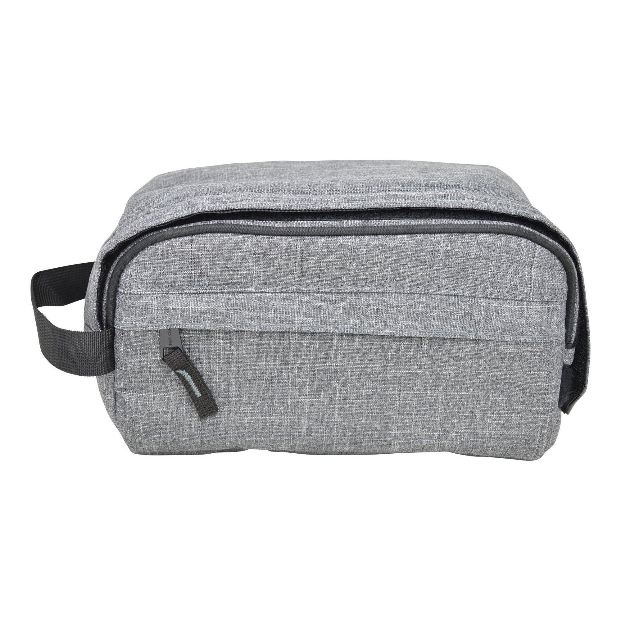 Front shot zipped 11 inch smell proof gray bag with black lining and black handle on left 1 front pocket with zipper
