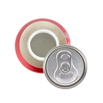 Top view of opened discreet soda stash storage container with realistic shape design of real Coca Cola can