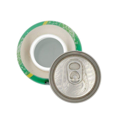 Top view of opened discreet soda stash storage container with realistic shape design of real 7up can