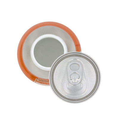 Top view of opened discreet soda stash storage container with realistic shape design of real fanta can