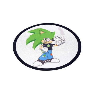 Fun round cartoon-inspired bong coaster smoking accessory with Sonic Boom holding a weed leaf design