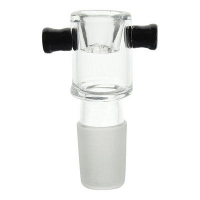 Close up shot of 18mm male clear glass bong bowl with black left and right handle finger grips