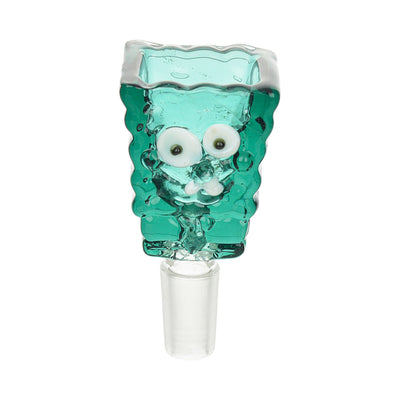 Teal 14mm cartoon-inspired glass bowl for male joint bong accessory bowl designed with funny sculpted face of Spongebob