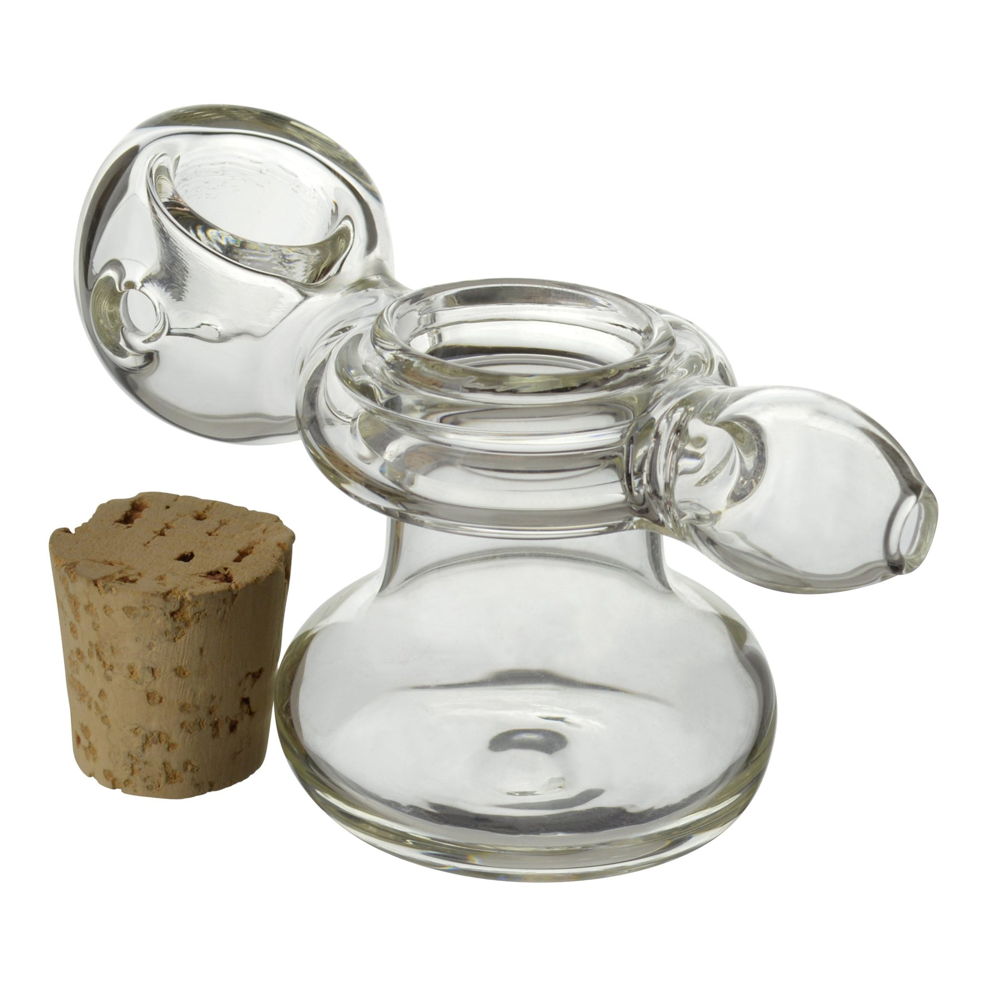 Cute 3.5 inch glass pipe with stash smoking device removed cork on left 2 in 1 stash and pipe functional travel friendly