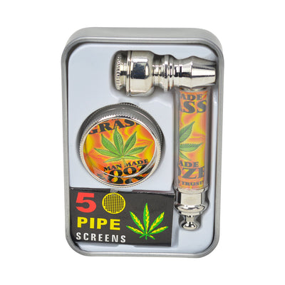 3-piece travel-friendly kit complete set of mini grinder, metal pipe, five screens in compact case with weed in rasta colors
