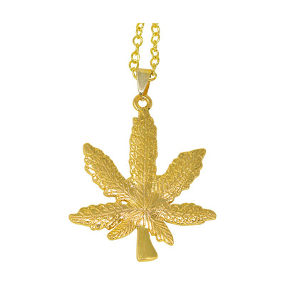 Gold stylish party necklace fashion item fashion accessory in a weed pot design with a chain and weed leaf pendant